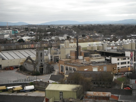 Brewery site and church ruins from St. Canice tower.