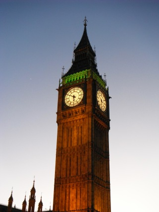 Queen Elizabeth Tower at dusk 2012.